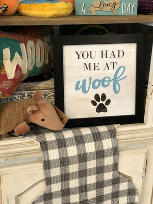 YOU HAD ME AT WOOF FRAMED PICTURE-BLACK/BLUE/WHITE - Infinity Raine