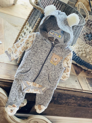 BEAR HUGS 3PC BABY ONESIE WITH VEST GREY - Infinity Raine