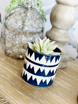 PLANT LOVER GEOMETRIC CERAMIC POT-NAVY MOUNTAINS - Infinity Raine