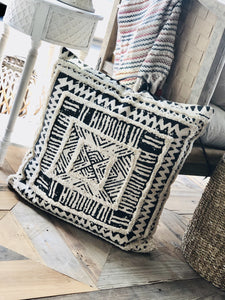 MOROCCAN LOVE FLOOR CUSHION WITH LEATHER HANDLE- SQUARE - Infinity Raine
