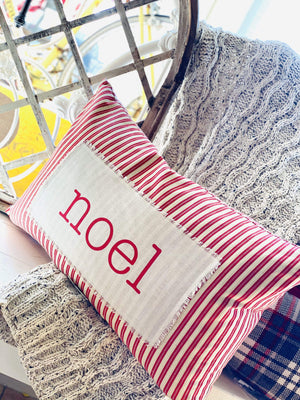 """NOEL"" STRIPED THROW PILLOW-RED - Infinity Raine"