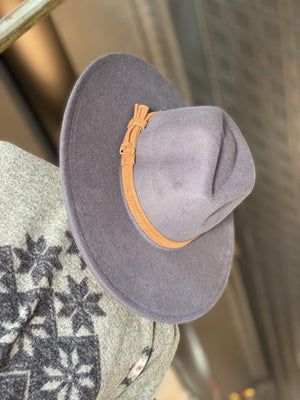 WHERE IT ALL STARTS WIDE BRIM BELTED HAT-DARK GREY - Infinity Raine