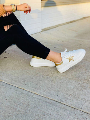 SUPER STAR SNEAKERS- GOLD - Infinity Raine