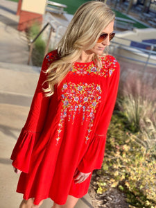 SWEETEST MEMORY EMBROIDERED DRESS-RED - Infinity Raine