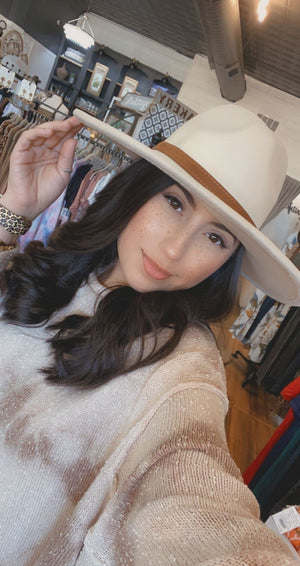 WHERE IT ALL STARTS WIDE BRIM BELTED HAT- CREAM - Infinity Raine