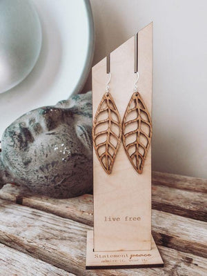 Beleaf Me Wooden Leaf Earrings - Infinity Raine