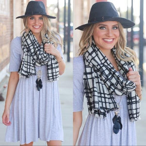 ON TO THE NECKS SCARF-BLACK/WHITE PLAID - Infinity Raine