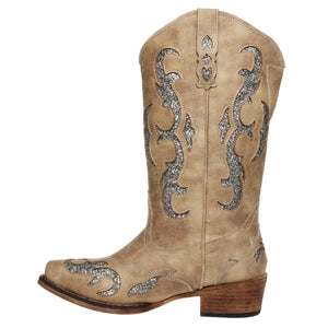 A NIGHT TO REMEMBER GLITTER UNDERLAY COWGIRL BOOT - Infinity Raine