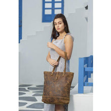 Load image into Gallery viewer, FLEECE LEATHER TOTE BAG - Infinity Raine