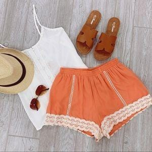 SUMMER VIBES CORAL CROCHET LACE TRIM SHORTS - Infinity Raine