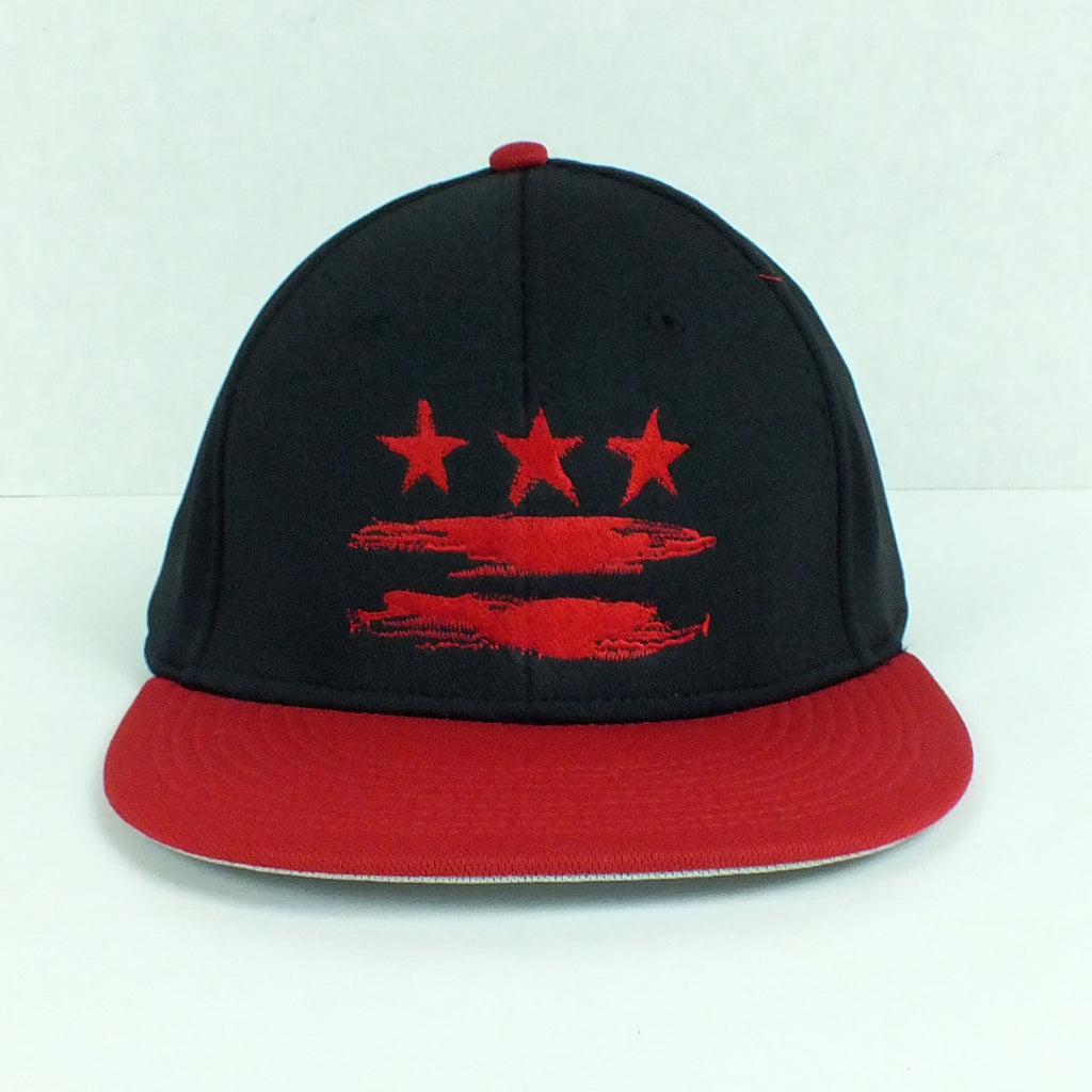 Washington DC Flag Black and Red Fitted Flat Brim Hat – Sneekis 73b93992ba7