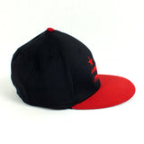 Washington DC Flag Black and Red Fitted Flat Brim Hat