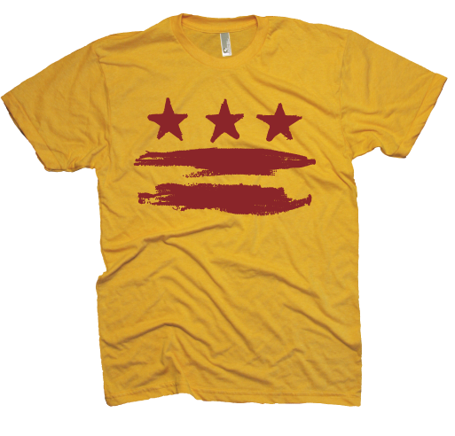 Gold and Burgundy Washington DC Flag T-shirt