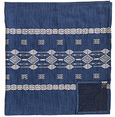 Coral and Tusk Embroidered Linen Indigo Berber Table Runner