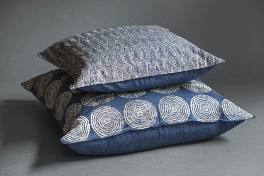 Coral & Tusk embroidered indigo pillows