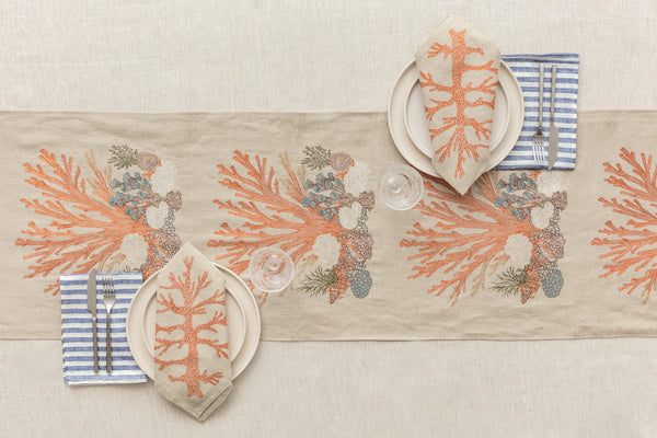 Coral & Tusk Table Linens with Stripe Dinner Napkin