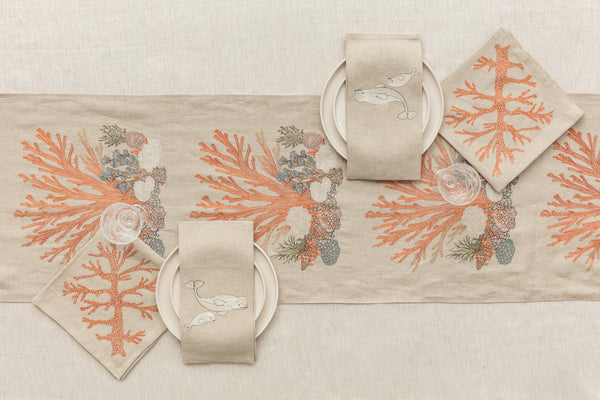 Coral & Tusk Beluga Whale Tea Towels and Coastal Table Linens