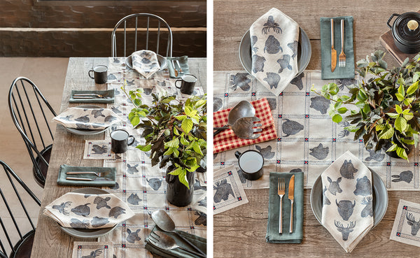 Coral and Tusk Thanksgiving with Silhouette Portraits Table Linens