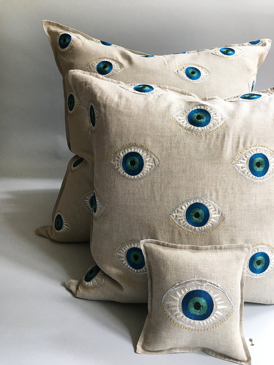 Coral & Tusk Evil Eye Embroidered Pillows