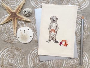 Coral & Tusk Sea Otter Embroidered Stationery