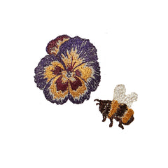 Coral & Tusk Bee and Pansy Embroidery