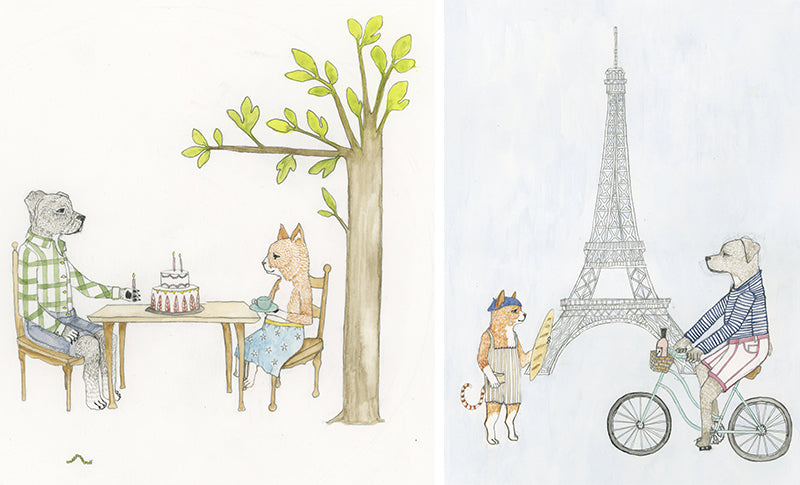 Illustration by Stephanie Housley for Fog Linen x Coral & Tusk - Paris and Birthday