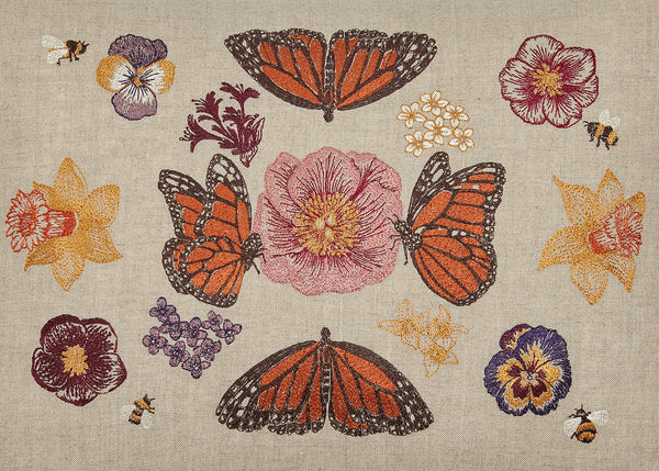 Coral & Tusk Butterflies and Blooms Embroidered Design