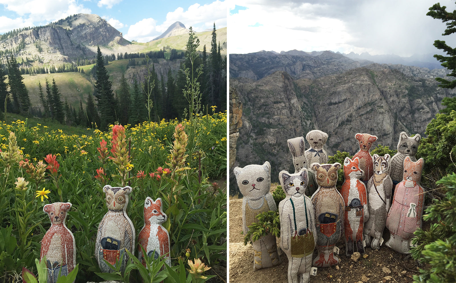 Coral & Tusk dolls at Grand Teton National Park and Sacred Rim in Wyoming