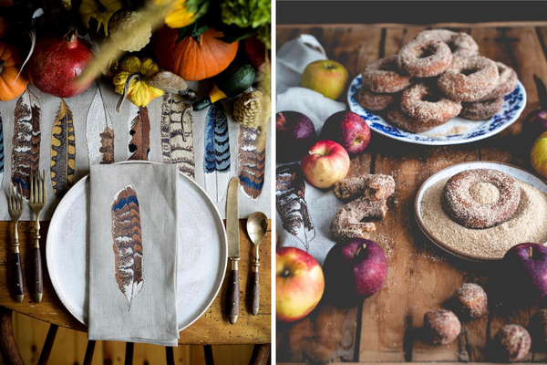 Fare Isle Apple Cider Donuts with Coral & Tusk Table Linens