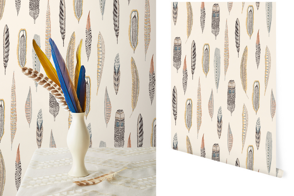 Plumes Wallpaper Coral & Tusk for Hygge & West