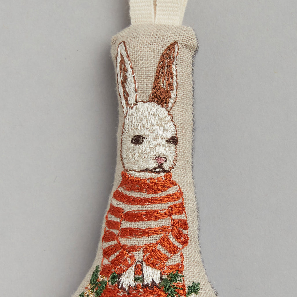 Bunny with Holly Ornament