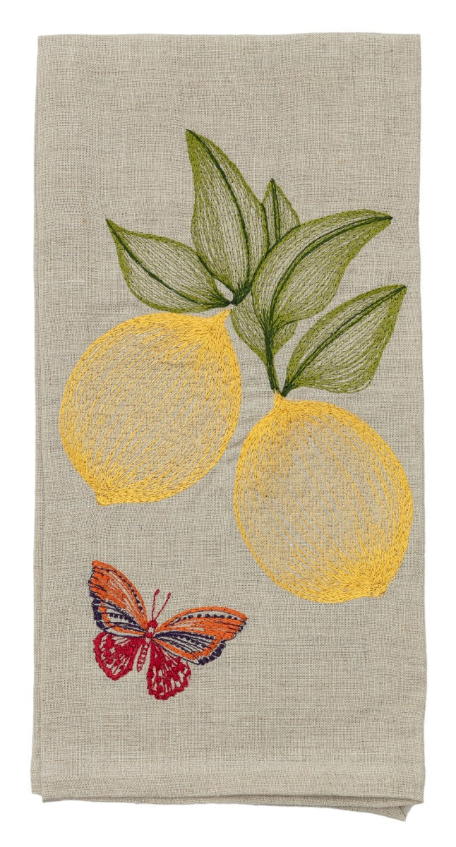 Lemons & Butterfly Tea Towel