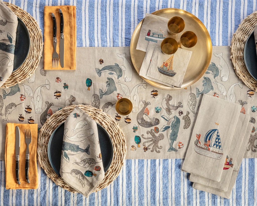 Sailing Foxes Tea Towel