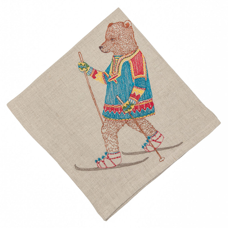 Cross Country Skiing Bear Dinner Napkin