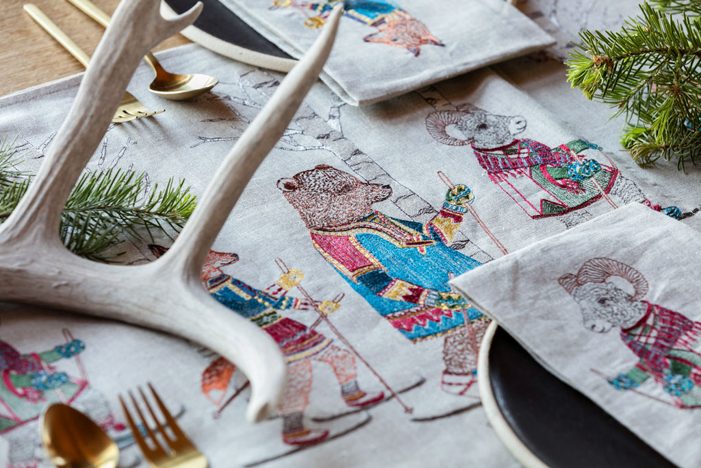 Cross Country Skiers Table Runner