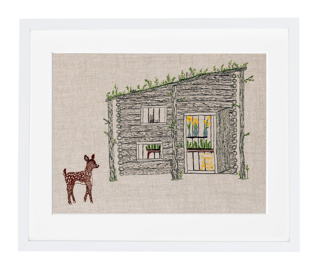 Cabin and Deer Framed Art