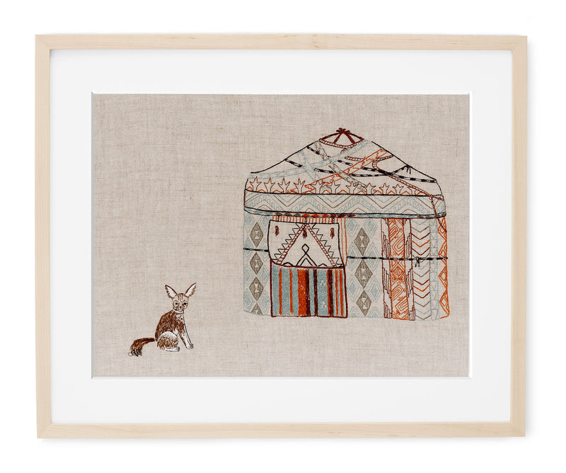 Yurt and Fox Framed Art