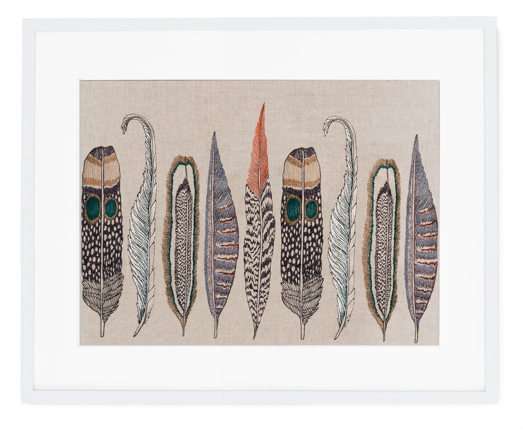 Large Feathers Framed Art