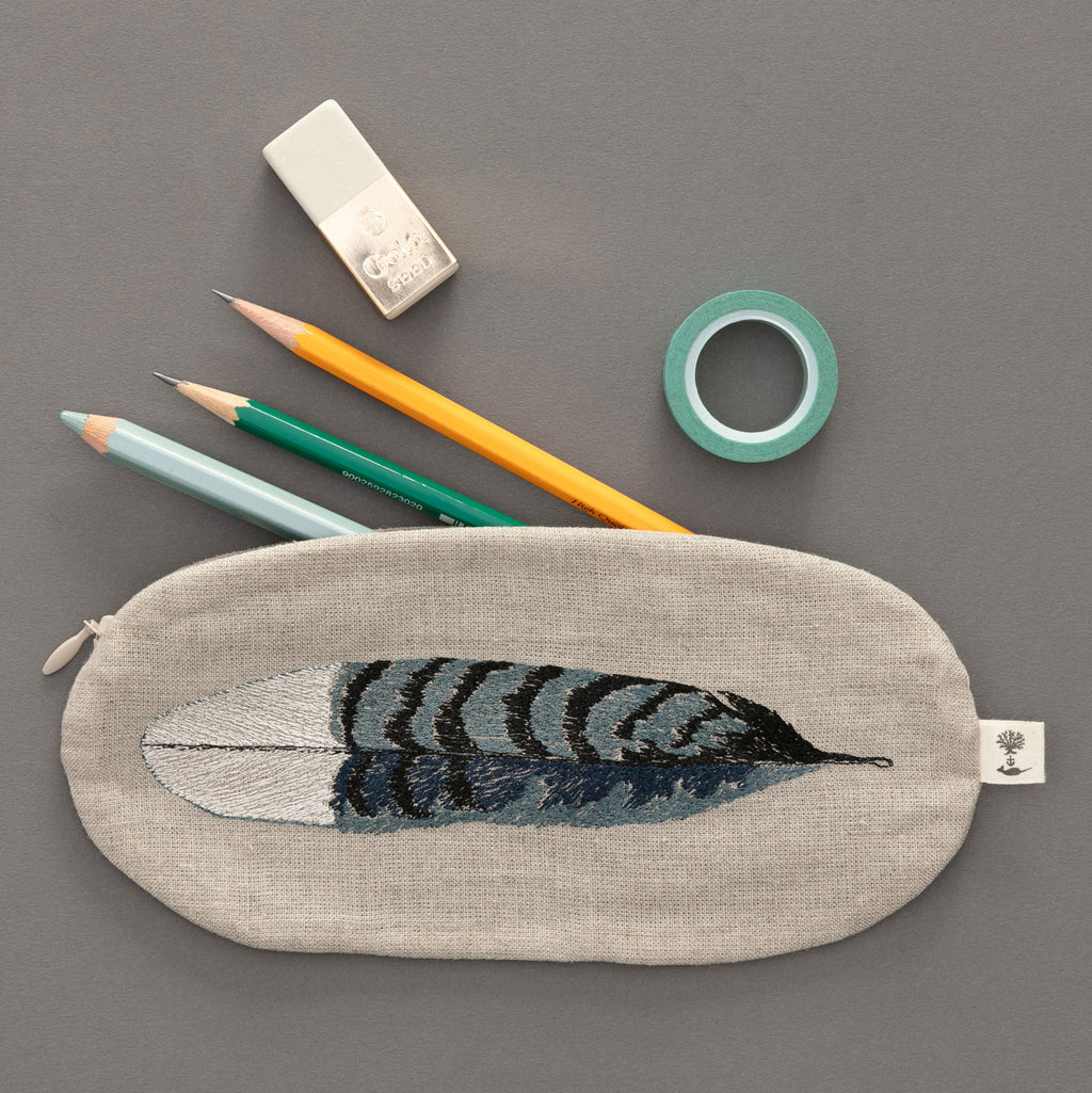 Blue Jay Feather Pouch