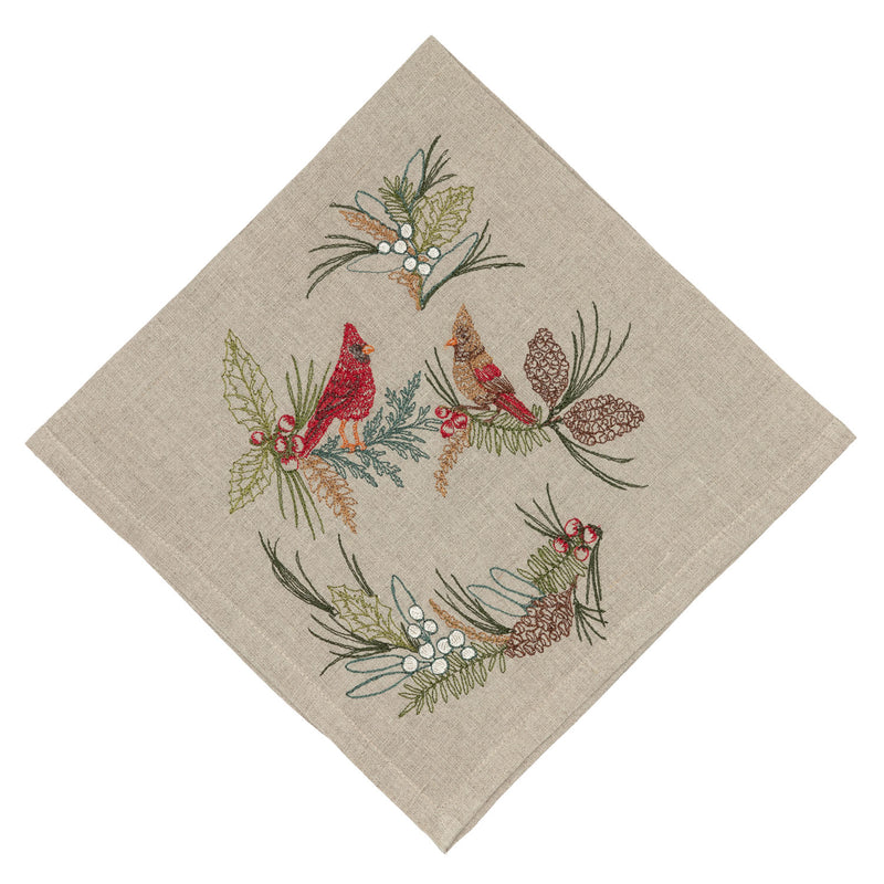Christmas Cheer Cardinals Dinner Napkin