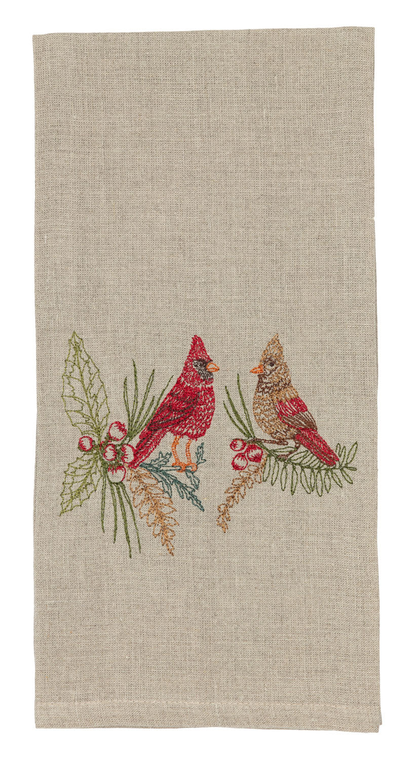 Christmas Cardinals Tea Towel