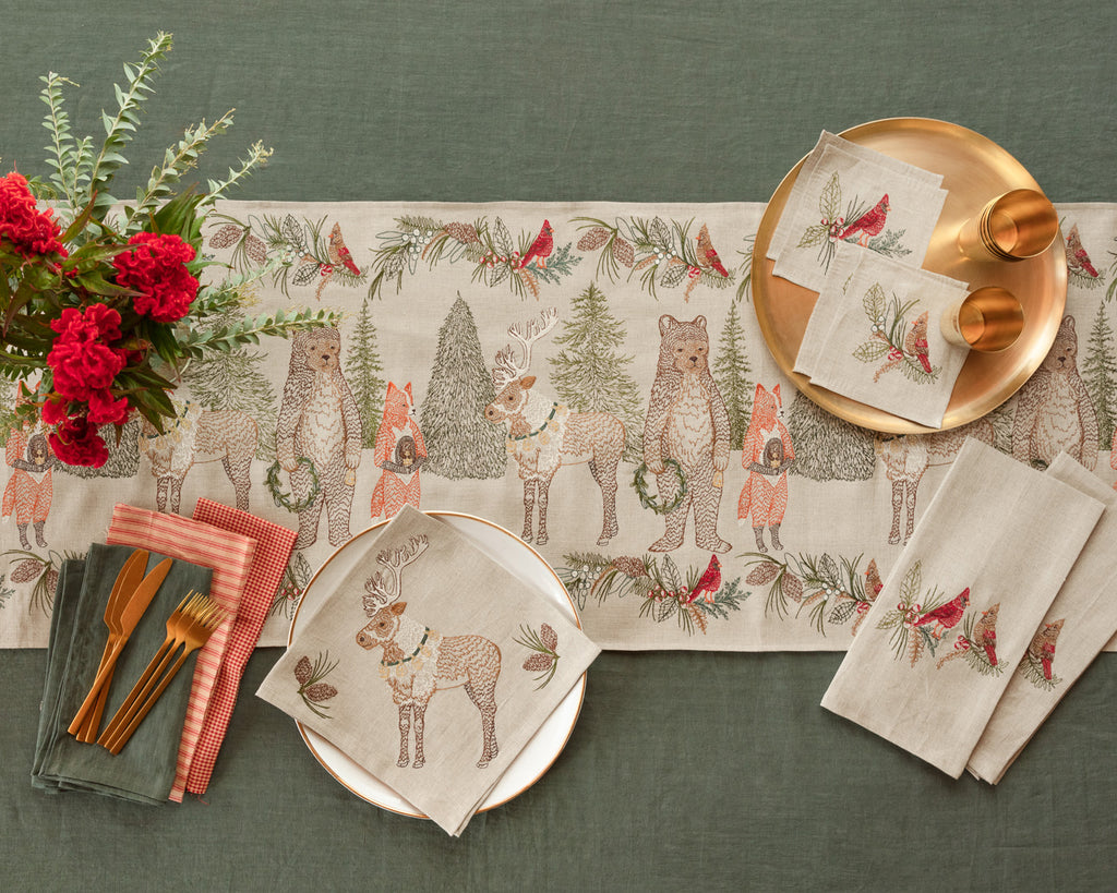 Christmas Cheer Reindeer Dinner Napkin