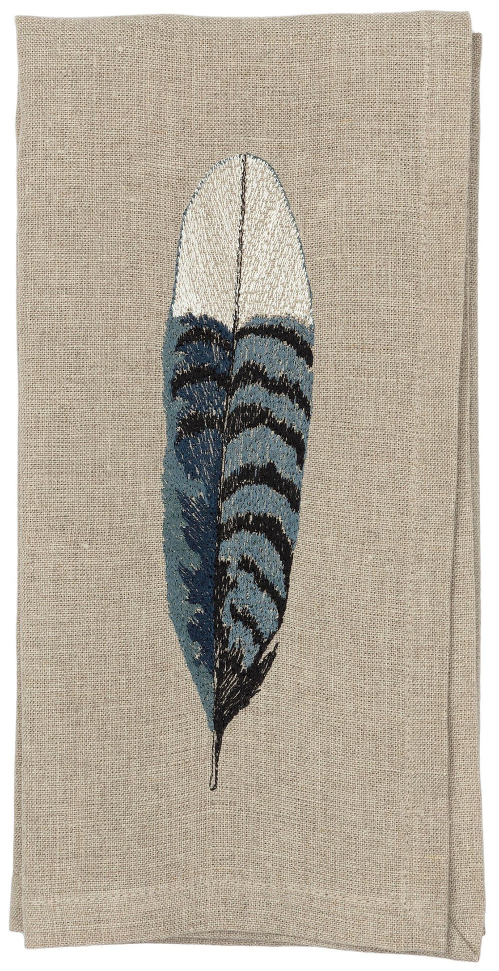Dinner napkin with corner embroidery of blue jay bird feather.