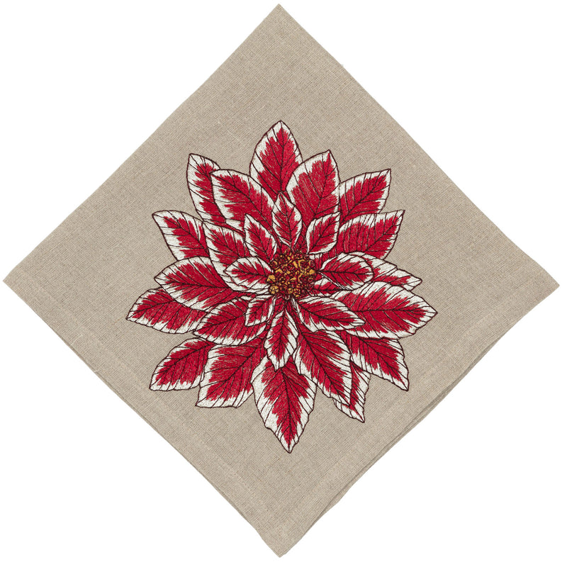 Folded dinner napkin with corner poinsettia embroidery.