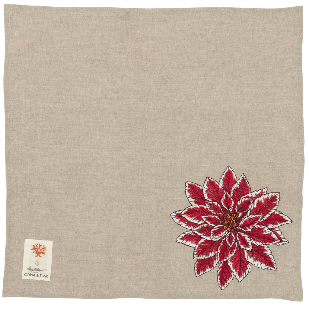 20 inch dinner napkin with corner poinsettia embroidery.
