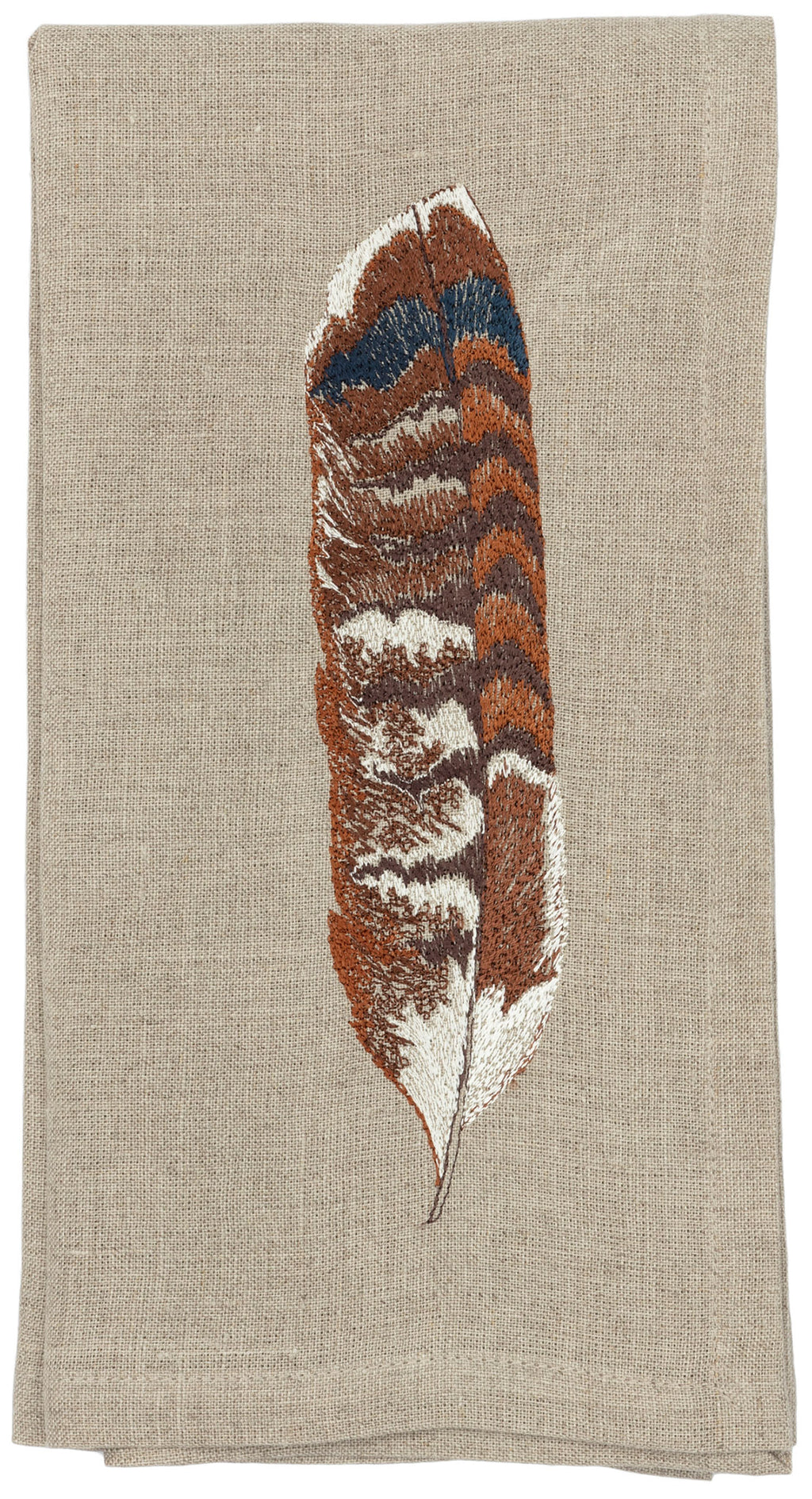 Dinner napkin with corner embroidery of red tailed hawk bird feather.