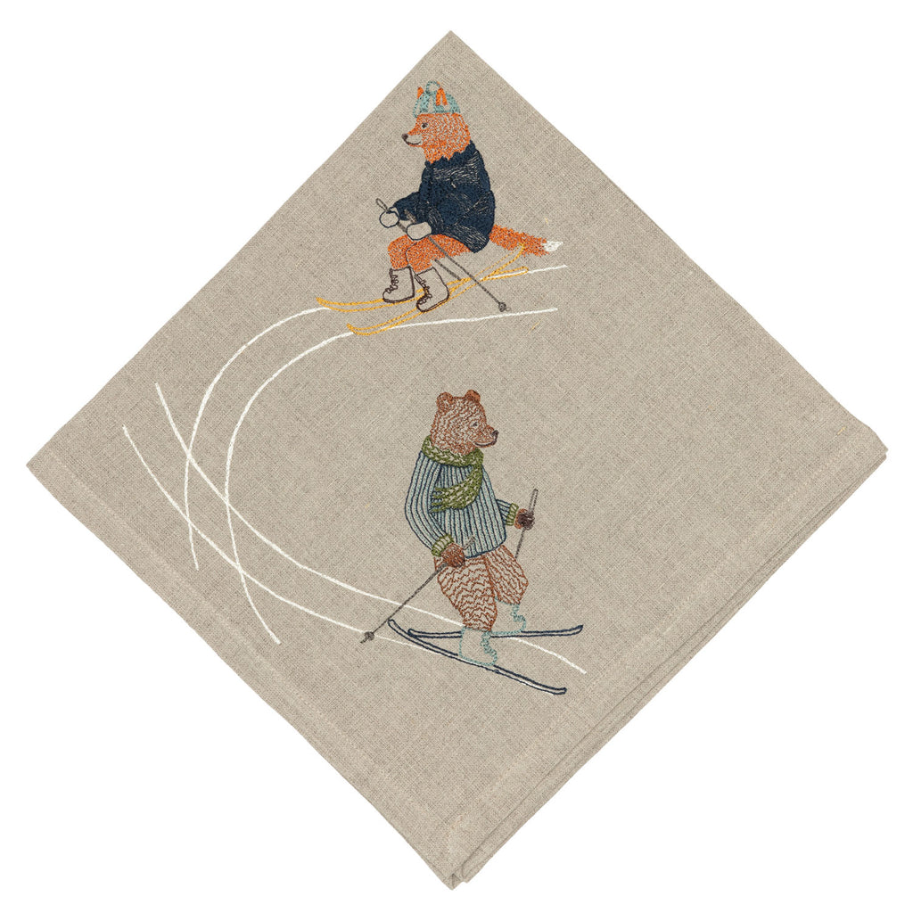 Downhill Skiers Dinner Napkin