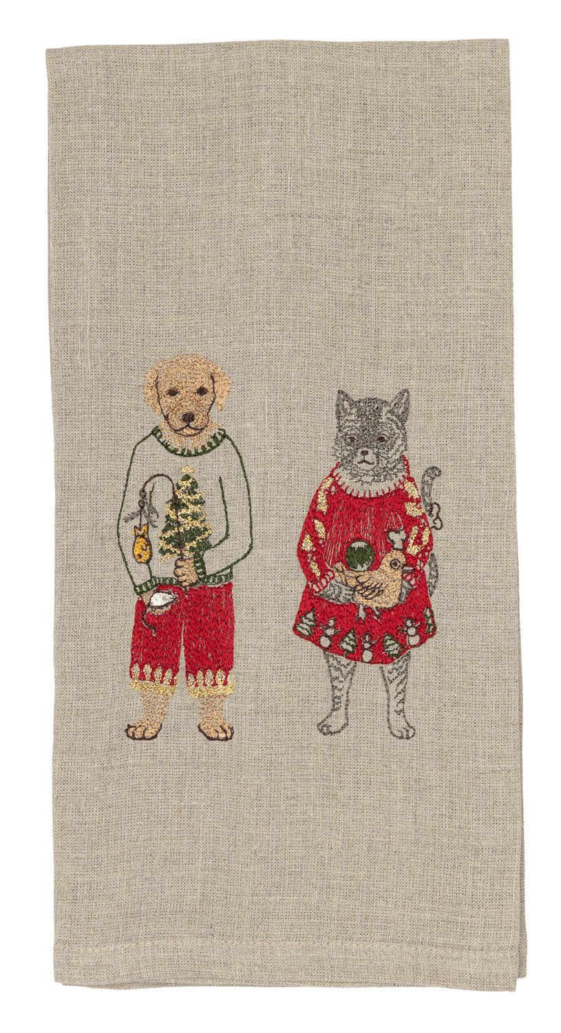 Gifting Cat and Dog Tea Towel