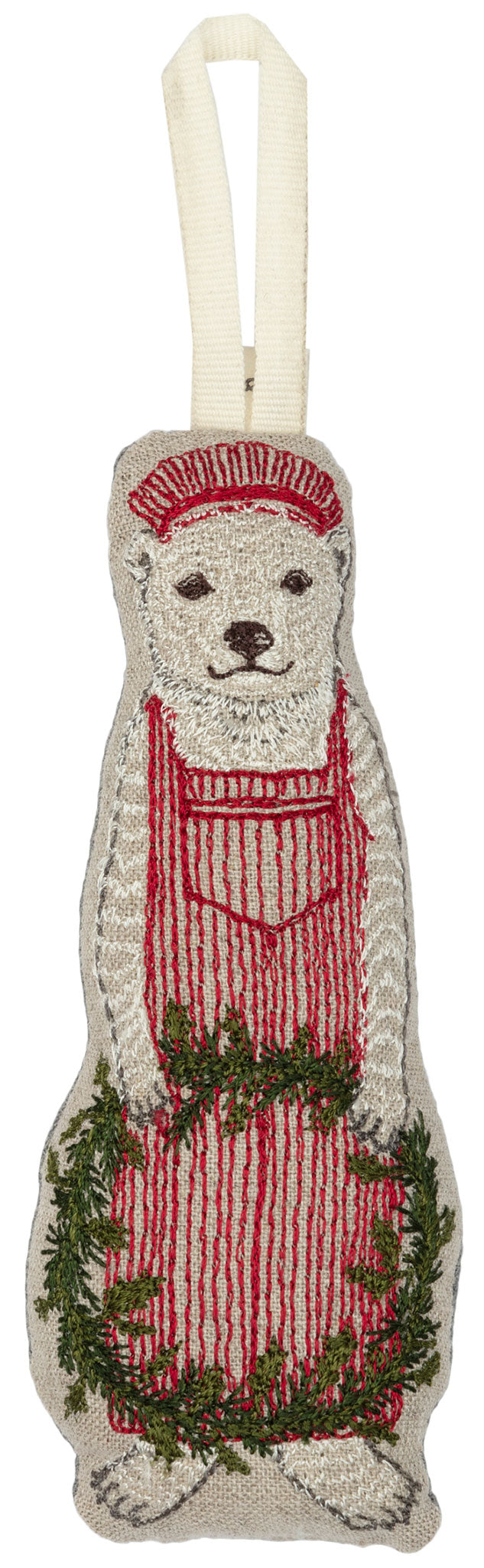 Embroidered and stuffed ornament depicting train conductor polar bear with red striped overalls and cap holding Christmas wreath.