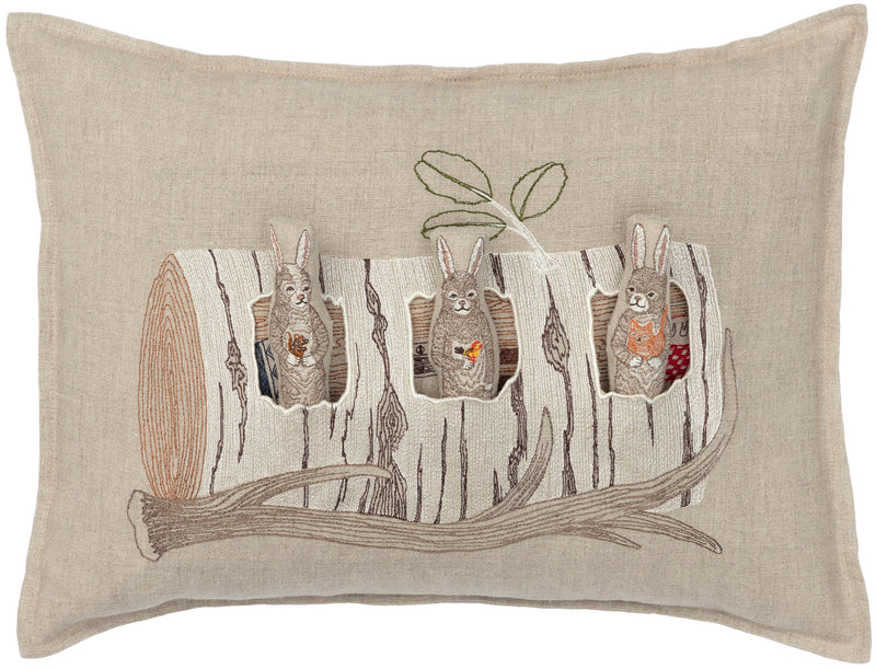 Aspen Log Bunnies Pocket Pillow